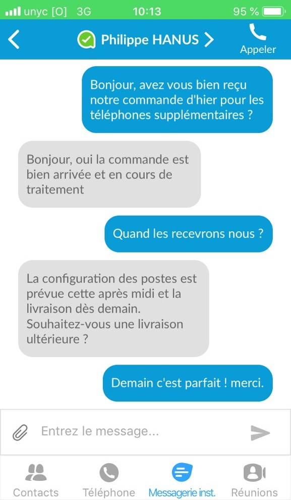 Chat intégré à l'application de téléphonie